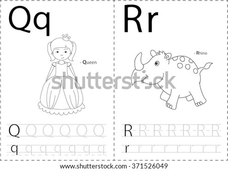 Cartoon Queen Rhino Alphabet Tracing Worksheet Stock Vector ...