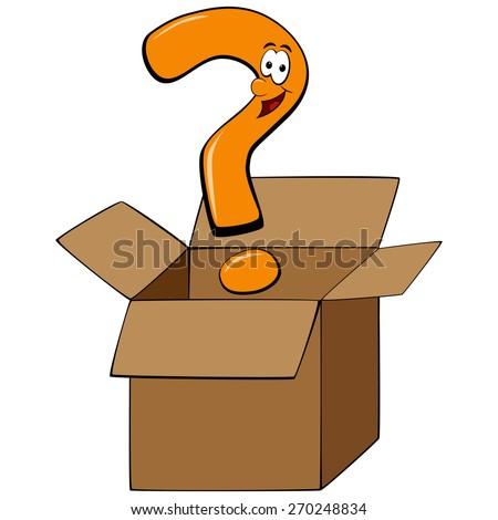 Cartoon question mark thinking outside of the box - stock vector