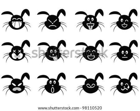cartoon rabbit face icon - stock vector