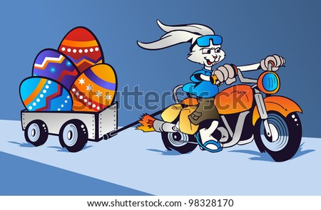 Cartoon rabbit mounted on a motorcycle transporting huge Easter eggs on blue background.  Vector file Layered for easy manipulation and custom coloring.