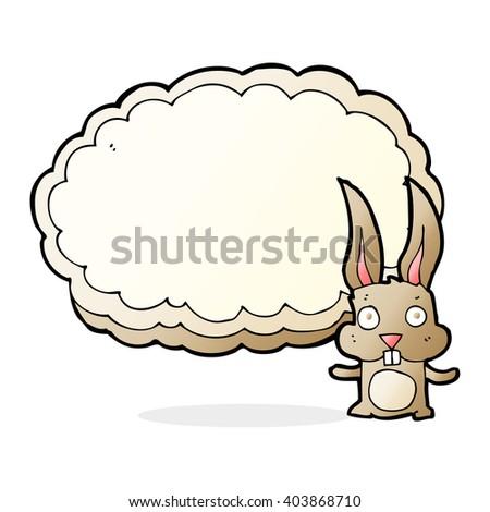 cartoon rabbit with text space cloud - stock vector