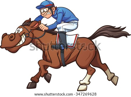 Cartoon race horse. Vector clip art illustration with simple gradients. Jockey and horse on separate layers. - stock vector