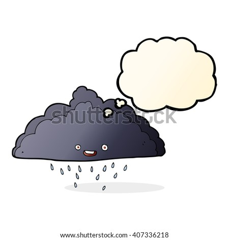 cartoon rain cloud with thought bubble - stock vector