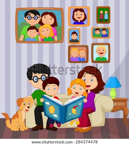 Cartoon read a story book in the living room - stock vector