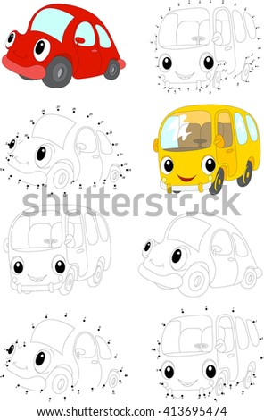 Cartoon Red Car And Yellow Bus Coloring Book Dot To Educational Game For