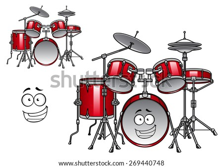 Cartoon red drum set character with shiny cymbals and happy smiling face suitable for musical design - stock vector