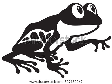 cartoon red eye tree frog. Black and white image