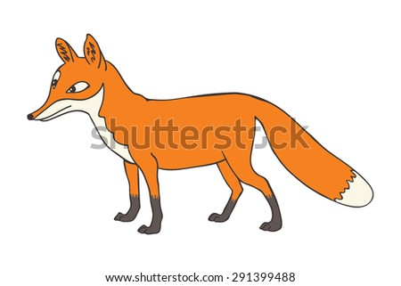 Cartoon red fox vector illustration - stock vector