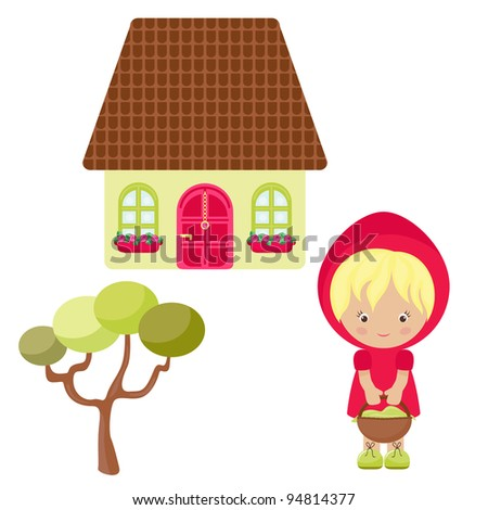 Cartoon Red Hood, her house and tree - stock vector