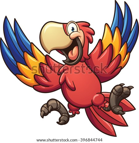 Cartoon red macaw. Vector clip art illustration with simple gradients. All in a single layer.