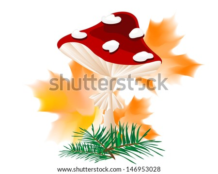 Cartoon red mushroom with autumn leaves and needles - stock vector