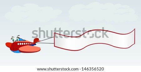 Cartoon red plane and advertising banner in the sky. Vector illustration. - stock vector