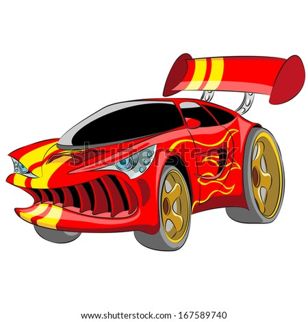 Cartoon red sport car isolated on white background. - stock vector