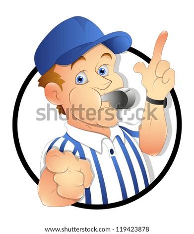 Cartoon Referee - stock vector