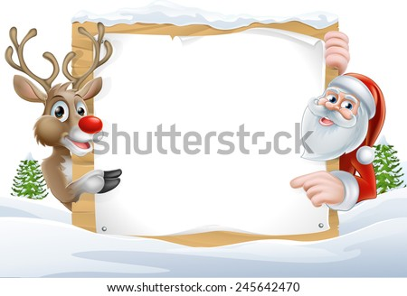 Cartoon Reindeer and Santa pointing at a snow covered sign in a winter landscape - stock vector