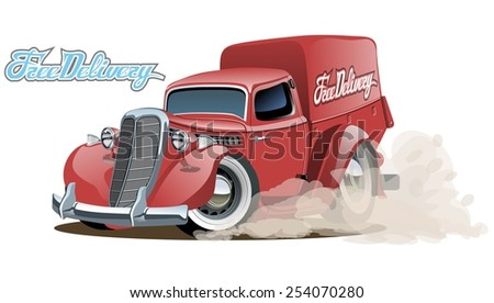 Cartoon retro delivery van. Available eps-10 vector format separated by groups with transparency effects for one-click repaint - stock vector