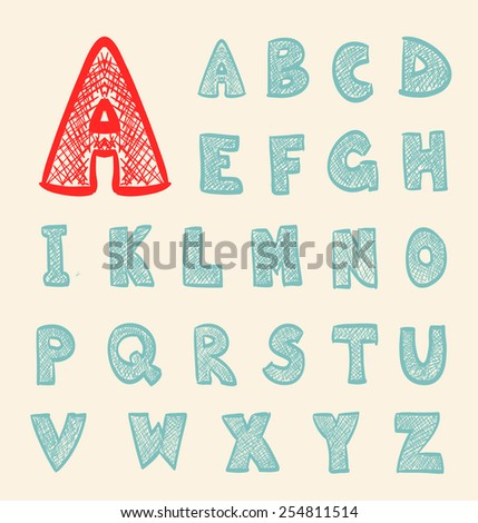 cartoon retro hand drawn abc set - stock vector