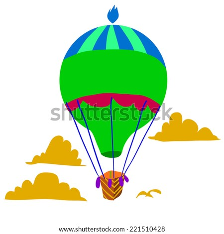 Cartoon Retro hot air balloon sky background flat icon. The vector illustration for ui, web games, tablets, wallpapers, and patterns. - stock vector