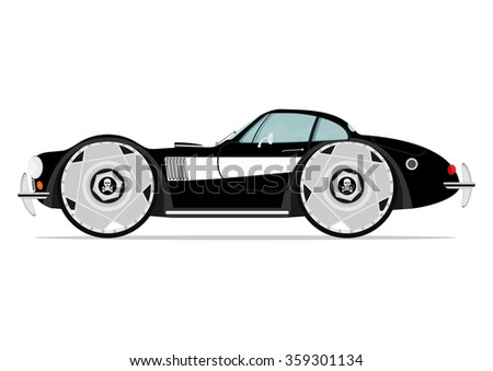 Cartoon retro muscle car on a white background. Vector - stock vector