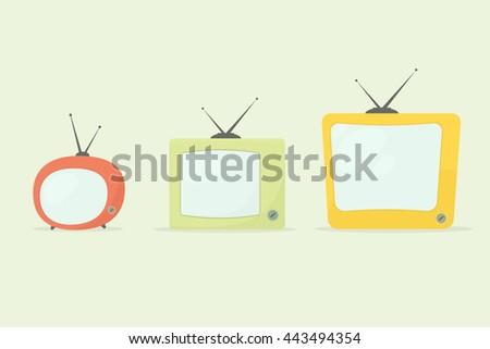 cartoon retro tv set - stock vector