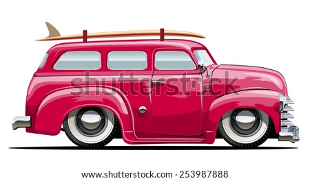 Cartoon retro van. Available eps-10 vector format separated by groups with transparency effects for one-click repaint - stock vector