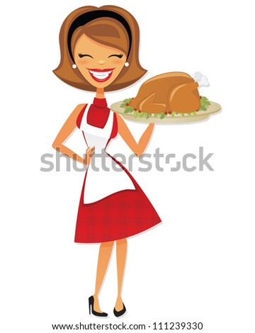 Cartoon Retro Woman holding Thanksgiving Turkey - stock vector