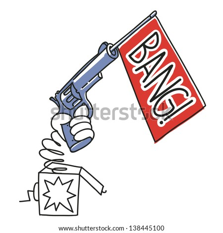 cartoon revolver with bang banner in surprise box. illustration isolated on white background - stock vector