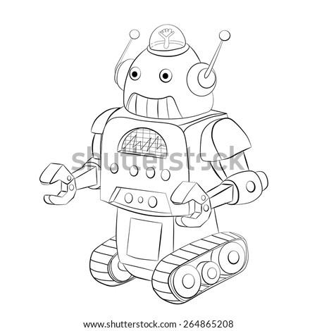 Cartoon robot crawler. Coloring book. - stock vector