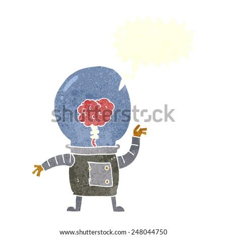 cartoon robot cyborg with speech bubble - stock vector