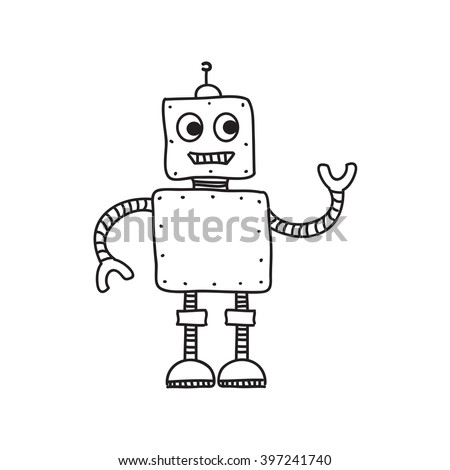 Cartoon robot isolated on white, hand drawn vector illustration, doodle style picture. Sketch design elements for banner, flyer, card, collage - stock vector