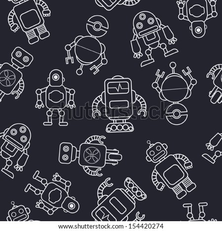 Cartoon robot. Seamless pattern.  - stock vector
