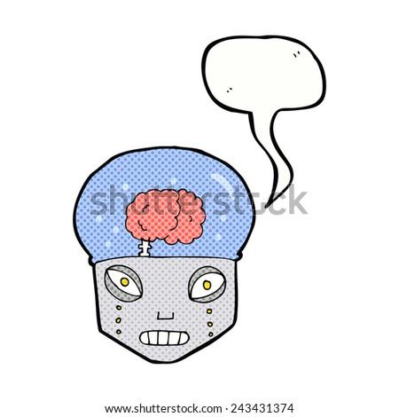 cartoon robot with brain - stock vector