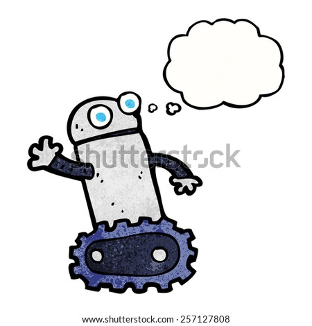 cartoon robot with thought bubble - stock vector