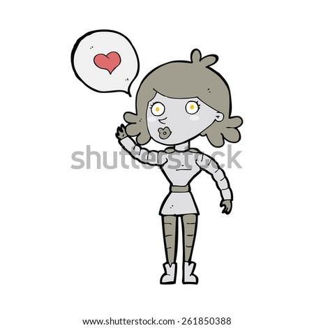 cartoon robot woman in love - stock vector