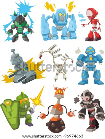 cartoon robots - stock vector