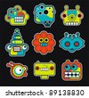 Cartoon robots and monsters faces in color. Vector illustration set #2. - stock vector