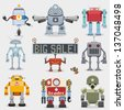 Cartoon robots collection - stock photo