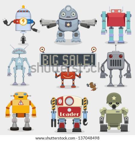 Cartoon robots collection - stock vector