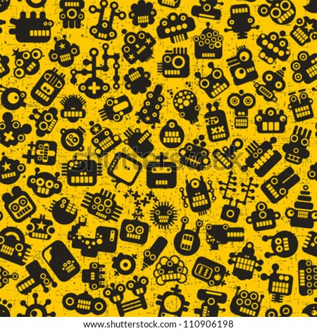 Cartoon robots faces seamless pattern on yellow. Vector retro background. - stock vector