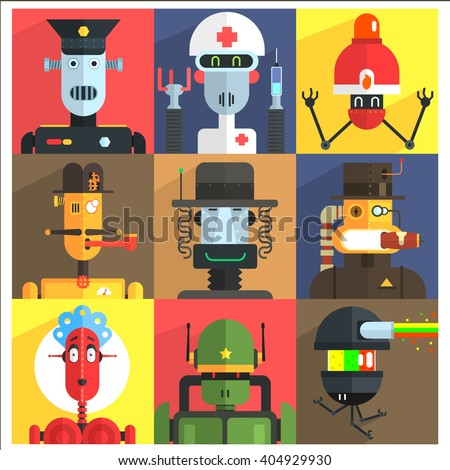 Cartoon Robots Of Different Professions  Isolated On Colorful Backgrounds In Childish Weird Vector Design Illustration - stock vector
