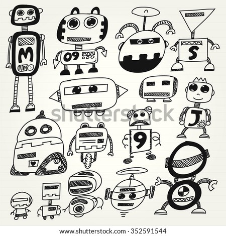 Cartoon robots set - stock vector
