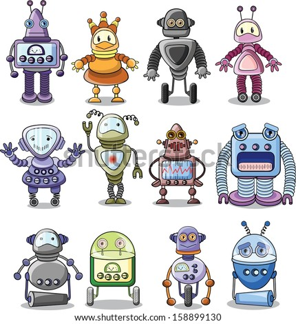 Cartoon robots set - vector  - stock vector