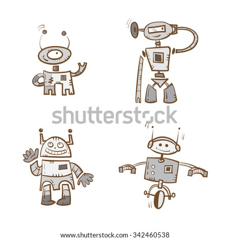 Cartoon robots set. Vector image. Doodle stile. - stock vector