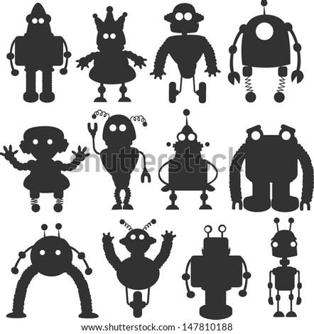 Cartoon robots silhouettes set - vector - stock vector