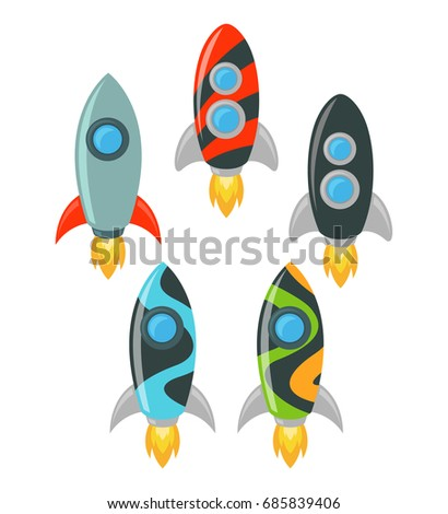 cartoon rocket spaceship vector illustration set stock vector rh shutterstock com spaceship vector free download spaceship vector worksheet