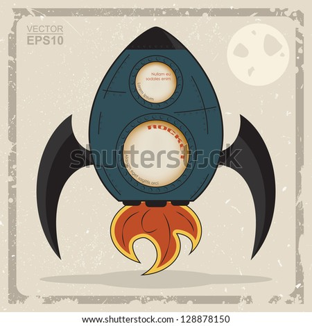 Cartoon rocket with windows and space for text Vintage - stock vector