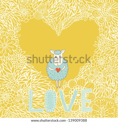 Cartoon romantic background. Funny cheep on heart made of flowers in vector - stock vector
