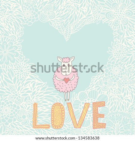 Cartoon romantic background. Romantic vector wallpaper with cute small sheep - stock vector