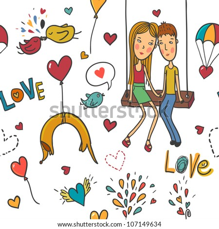 Cartoon romantic seamless pattern with lovers, dog and birds - stock vector