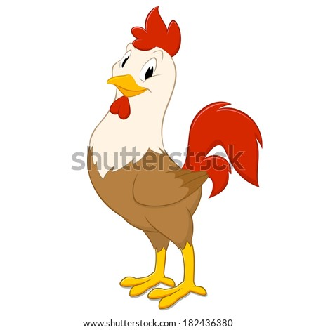Cartoon rooster. Isolated object for design element - stock vector